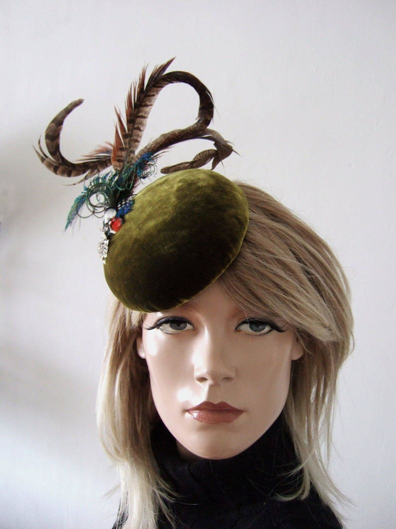 663411472e32e Olive Green Velvet Pheasant Peacock Button Cocktail Hat