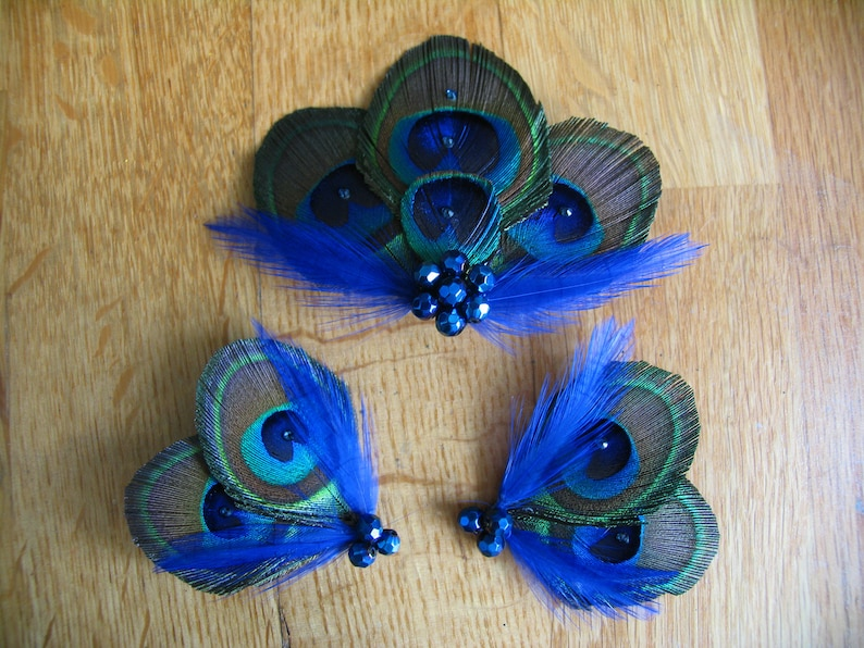 8bf24d5ed SET Peacock Feather Green Royal Blue Fascinator Hair Clip