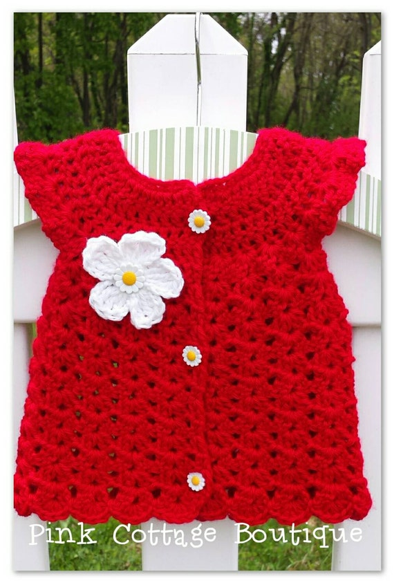 Flutter sleeve crochet dress size NB red baby girl ready to ship