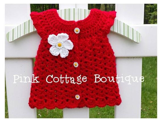 Alboroto Rojo Niña Vestido Crochet Tamaño Nb Listo Para Enviar