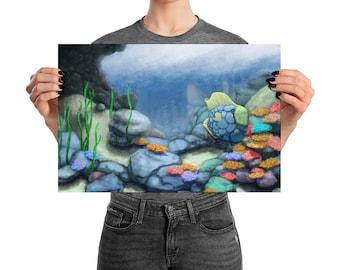 Seaweed & Coral   Ocean Poster Print for Aquarium Lovers