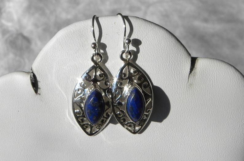 Blue Lapis Earrings Handmade Lapis Lazuli Earrings Semiprecious Gemstone 1 14 Sterling Silver Earrings Get 20/% Off Lapis Lazuli Jewelry