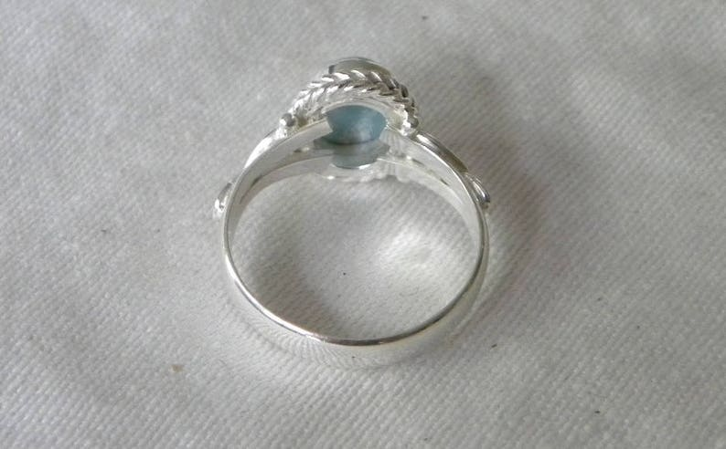 Larimar Ring Handmade Ring Natural Dominican Blue Larimar 8x10mm Blue Gemstone Solid Sterling Silver Ring Size 6 12 Blue Larimar Jewelry