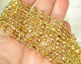 Golden Pyrite Rosary Chain 9 to 18 Inches Gold Vermeil Wire Chain 4mm Semiprecious Faceted Gemstone Beads Take 20% Off Jewelry Supply