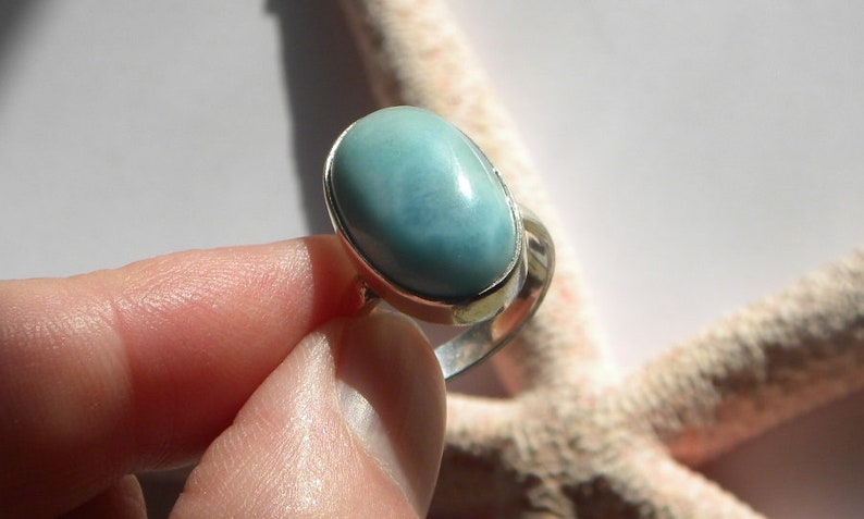 Larimar Ring Handmade Ring OOAK  Natural Dominican 19x12mm Blue Gemstone Sterling Silver Ring Size 7 Blue Larimar Jewelry Free Shipping
