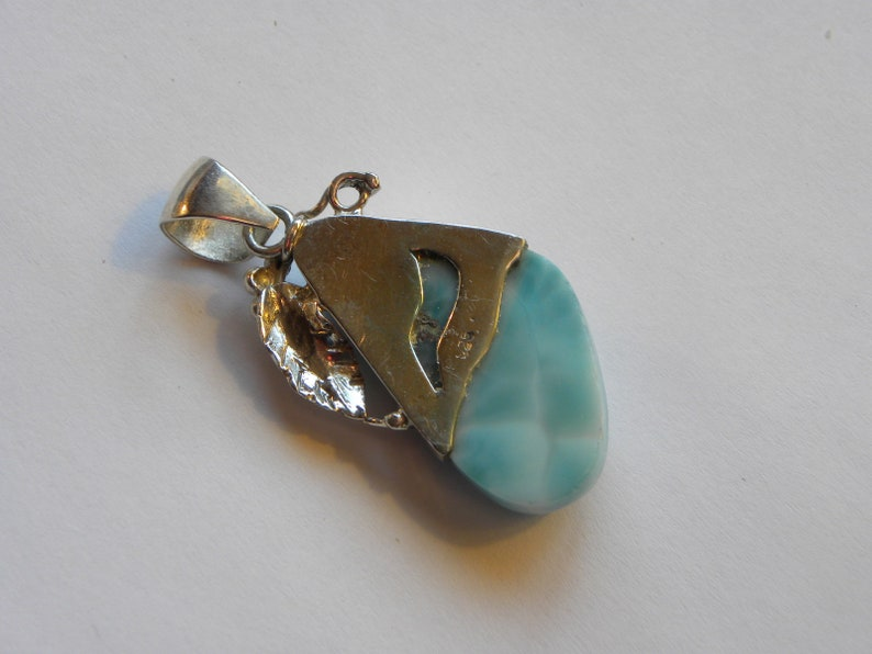 Larimar Pendant Handmade Dominican Blue Larimar 2 Sterling Silver Pendant Natural Gemstone Pendant Blue Larimar Jewelry Free Shipping Sale