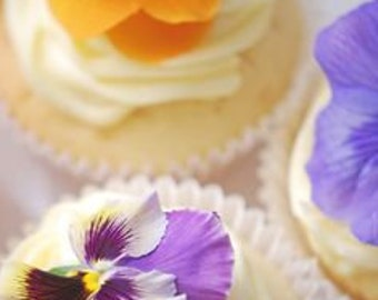 FRESH EDIBLE FLOWERS Pansies Bright Collection Fresh, Edible Flower, Salads, Baking, Drink Toppers, Cupcake Toppers, Rice Paper Wraps 50
