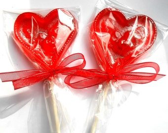 VALENTINES DAY GIFT, Brandied Cherry Heart Lollipops, I Love You Valentine, Favors, Gifts, Flower Lollipops
