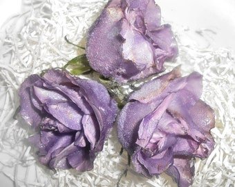 LAVENDER PURPLE Real Organic Edible Roses Cake Toppers - Fresh Large, Edible Candied Crystallized - Real Roses, Flowers,