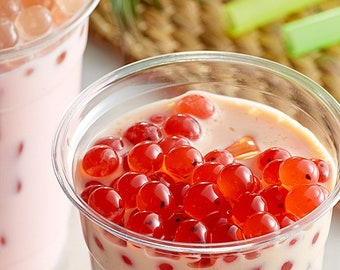INFUSED EDIBLES BOBA Wild Strawberry Bursting Bubbles 8 Flavors 8 Juice Filled Toppings Christmas Party 12mm Straws  32oz Ready to Serve Kit