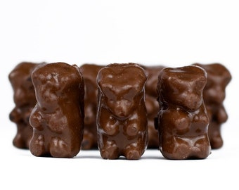 EDIBLE GUMMY BEAR Candy, Chocolate Covered Gummies Swedish Gummy Bear Snacks, Party Favors, Chocolate Gifts