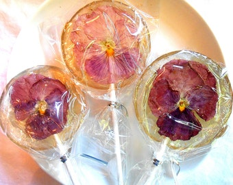 Gourmet Liquor Cordial Alcohol Choice Pansy, Edible Giant Lollipops, Candied Fresh Flowers, Wedding Favors, Flower Lollipops
