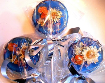 Gourmet, Blueberry Ice, 18 Edible Flower mix,Flower Lollipops, Lollipops, , Country Weddings, Candied Fresh Flowers, Wedding Favors