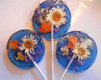Gourmet, Blueberry Ice, Edible Flower mix,Flower Lollipops, Lollipops, By the Piece, Country Weddings, Candied Fresh Flowers, Wedding Favors