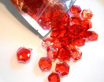 July Birthstones, Rubies, Edible Gems, Candy Gems, Birthday Cake Decorations, Hard Candy, Red, Cupcake Toppers