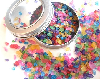 MULTI COLORED Rock Sugar Candy Large Sprinkles Pocket Tin, Candy Sprinkles, Edible Gems, Sugar Jewels, Party Favors, Delicious Candy