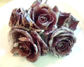 GOURMET REAL BLACK Edible Roses, Deep Burgundy Black Shades, Crystallized, Longer Lasting, Edible, Weddings,  Naked Cake Flowers