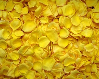 Scented WEDDING TOSS PETALS Sunshine Yellow Fresh Freeze Dried, Bio-degradable, Real Rose Petals, Wedding Color Match, Bulk Orders