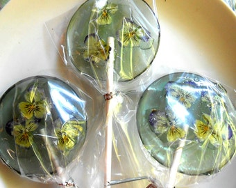 Gourmet, Lavender Flavored, Edible Violas, Giant Lollipops, Barley Water, 3