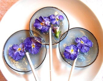 SOMETHING BLUE BERRY Ice Viola Edible Giant Lollipops Candied Fresh Flowers Wedding Favors 25 Flower Lollipops
