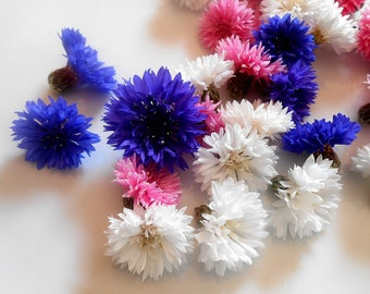 EDIBLE BACHELOR BUTTONS, Candied or Not Candied Purple Blue, Pink, White, Edible Flowers, Bulk, Wedding Cakes, Edible Flower