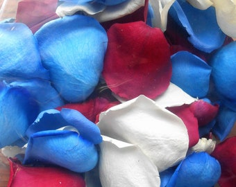 Scented WEDDING TOSS PETALS Real Petals Freeze Dried, Red White Blue, Bio-degradable Petals, Military Wedding, 4th of July, Political Party