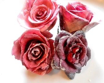 GOURMET CANDIED ROSES: Organic Edible Plum Pink Shades, Crystallized, Long Lasting, Edible, Weddings, Cupcake Toppers, Naked Cake Flowers