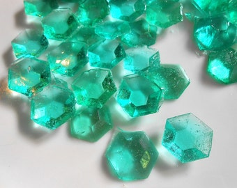 MINE CRAFT Party, AQUA, Candy Gems, Edible Sugar Jewels, Sugar Diamonds, Cupcake Toppers, Cake Decorations, Ready to ship 60