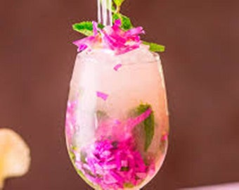 EDIBLE FRESH COCKTAIL; Mint, Rose, Petals,Drink Garnishes, Recipe, Godmothers, Cocktail 250 Organic Rose Petals,Mint, Pastels