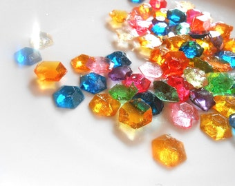 FLAVORED CANDY GEMS Party, 60 or more Candy Gems, Edible Rupees, Sugar Jewels, Cupcake Toppers, Cake Decorations