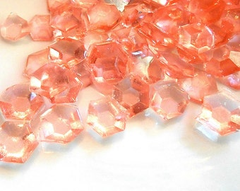 Peach Champagne, Diamonds, Candy Gems, Cake Decorations, Half Natural Half Peach/Pink Gems