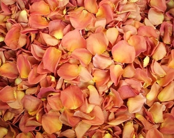 Scented WEDDING TOSS PETALS Burnt Orange Fresh Freeze Dried, Bio-degradable, Real Rose Petals, Wedding Color Match, Bulk Orders
