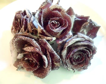 BURGUNDY WINE REAL Candied Roses, Black  Rose Organic Edible Flowers, Weddings, Anniversary, Cupcake Toppers, Decorations, Naked Cakes