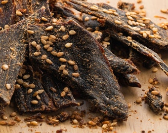 Teriyaki Sesame Grass Fed Beef Jerky by the Half Pound