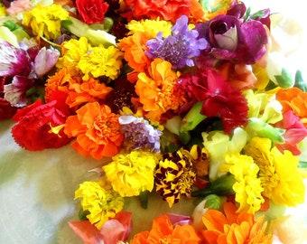 FRESH EDIBLE FLOWER Collection Summer Wedding Flower Girl Baskets Flowers Toss Wedding Cakes