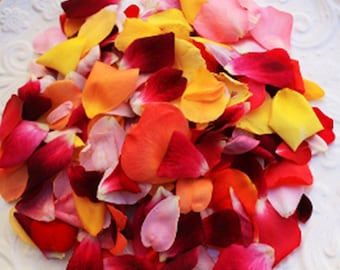 EDIBLE FLOWERS MIXED Rose Petals, Real Bright Shades, Crystallized, Long Lasting, Edible, Weddings, Cupcake Toppers, Naked Cake Flowers