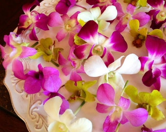 12 Organic, EDIBLE KARMA ORCHIDS, Purples, Blues, Pinks, Creams,Edible Flowers, Bulk, Karma Orchids, Wedding Cakes, Free Overnight Delivery