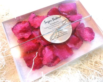 MAGENTA ROSE PETALS Wedding Cake Decorations, Candied Flowers, Crystallized, Edible Real Rose Petals, Hot Pink, White, Black