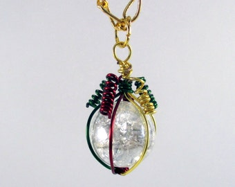 Dark Red Green and Gold Wire Wrapped Fried Marble Pendant Necklace on Gold Chain, Christmas Style