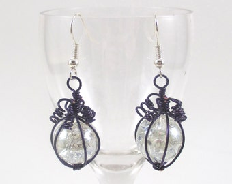 Purple Wire Wrapped Fried Marble Earrings, Sparkly