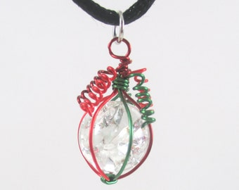 Dark Red Green and Red Wire Wrapped Fried Marble Pendant Necklace on Black Cord, Christmas Style