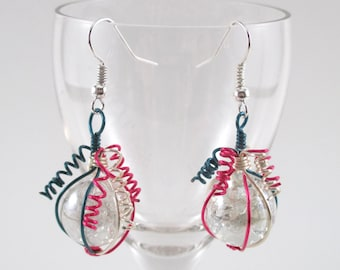 Pink Silver and Blue Wire Wrapped Fried Marble Earrings, Sparkly, Curly Top