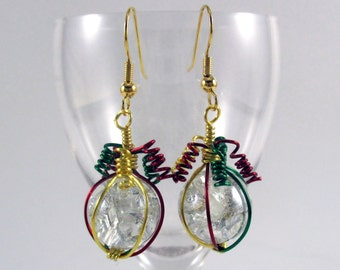 Dark Red Green and Gold Wire Wrapped Fried Marble Earrings, Sparkly, Christmas Style