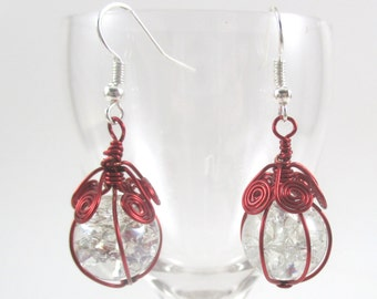 Dark Red Wire Wrapped Fried Marble Earrings, Sparkly