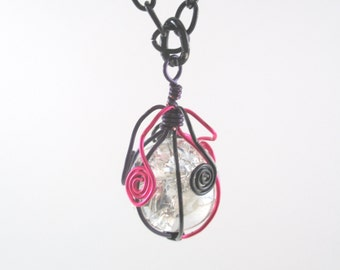 Pink Purple and Black Wire Wrapped Fried Marble Pendant Necklace on Black Chain, Long and Short Spiral