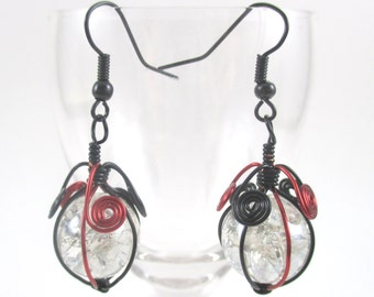 Red and Black Wire Wrapped Fried Marble Earrings, Sparkly