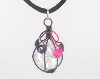 Pink Purple and Black Wire Wrapped Fried Marble Pendant Necklace on Black Cord, Long and Short Spiral