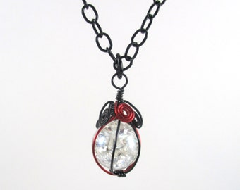 Red and Black Wire Wrapped Fried Marble Pendant Necklace on Black Chain