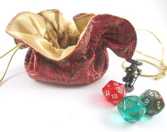 Red and Green Paisley Satin Round Drawstring Bag, Dice Bag, Gift Bag, Small Size