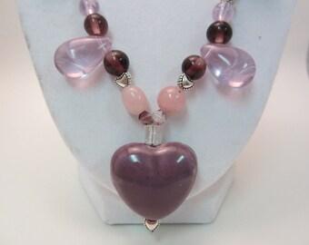 Purple Valentine Heart Necklace and Earring Set, Handmade Jewelry Set